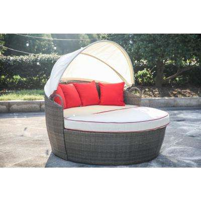3-Piece Wicker Outdoor Day Bed with Off-White Cushions