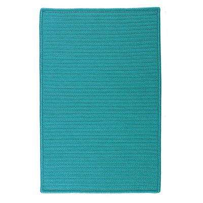 Solid Turquoise 4 ft. x 4 ft. Indoor/Outdoor Braided Area Rug