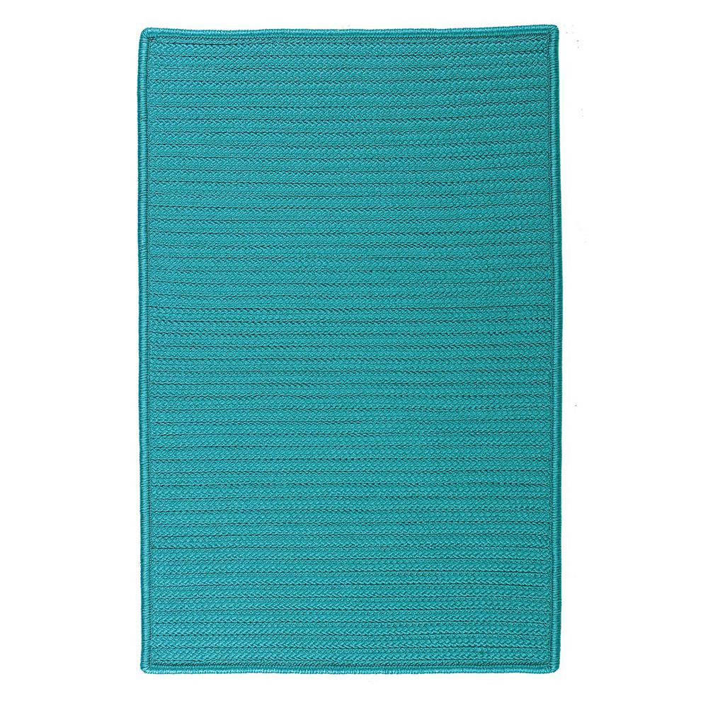 Home Decorators Collection Solid Turquoise 12 Ft X 15 Ft Indoor Outdoor Braided Area Rug