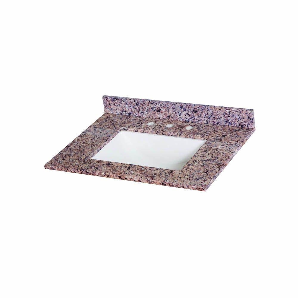 Home Decorators Collection 31 in. W Stone Effects Vanity Top in Capri with White Bowl