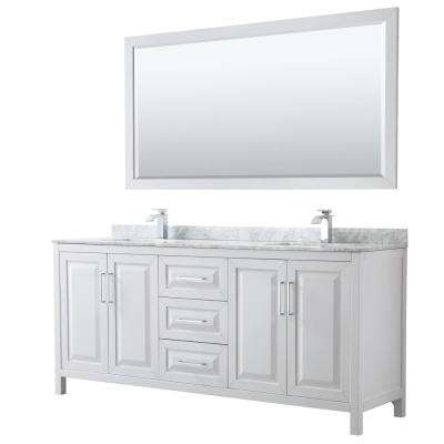 Daria 80 in. Double Bathroom Vanity in White with Marble Vanity Top in Carrara White and 70 in. Mirror