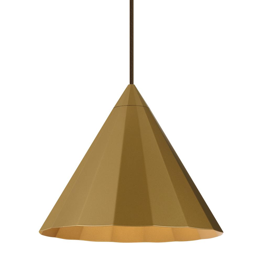 LBL Lighting Astora 11.9 in . W 1-Light Satin Gold Modern Metal Faceted Cone Pendant with 6 Feet of Adjustable Bronze Cloth Cord