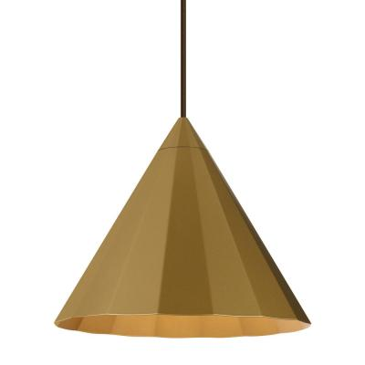 Astora 11.9 in . W 1-Light Satin Gold Modern Metal Faceted Cone Pendant with 6 Feet of Adjustable Bronze Cloth Cord