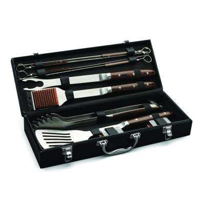 Premium 10-Piece Grilling Set with Leather Storage Case