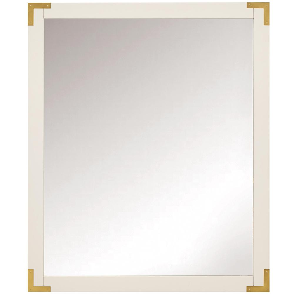 Home decorators collection chatham 36 in h x 30 in w single framed mirror in white 9945900410 - Home decor wall mirrors collection ...