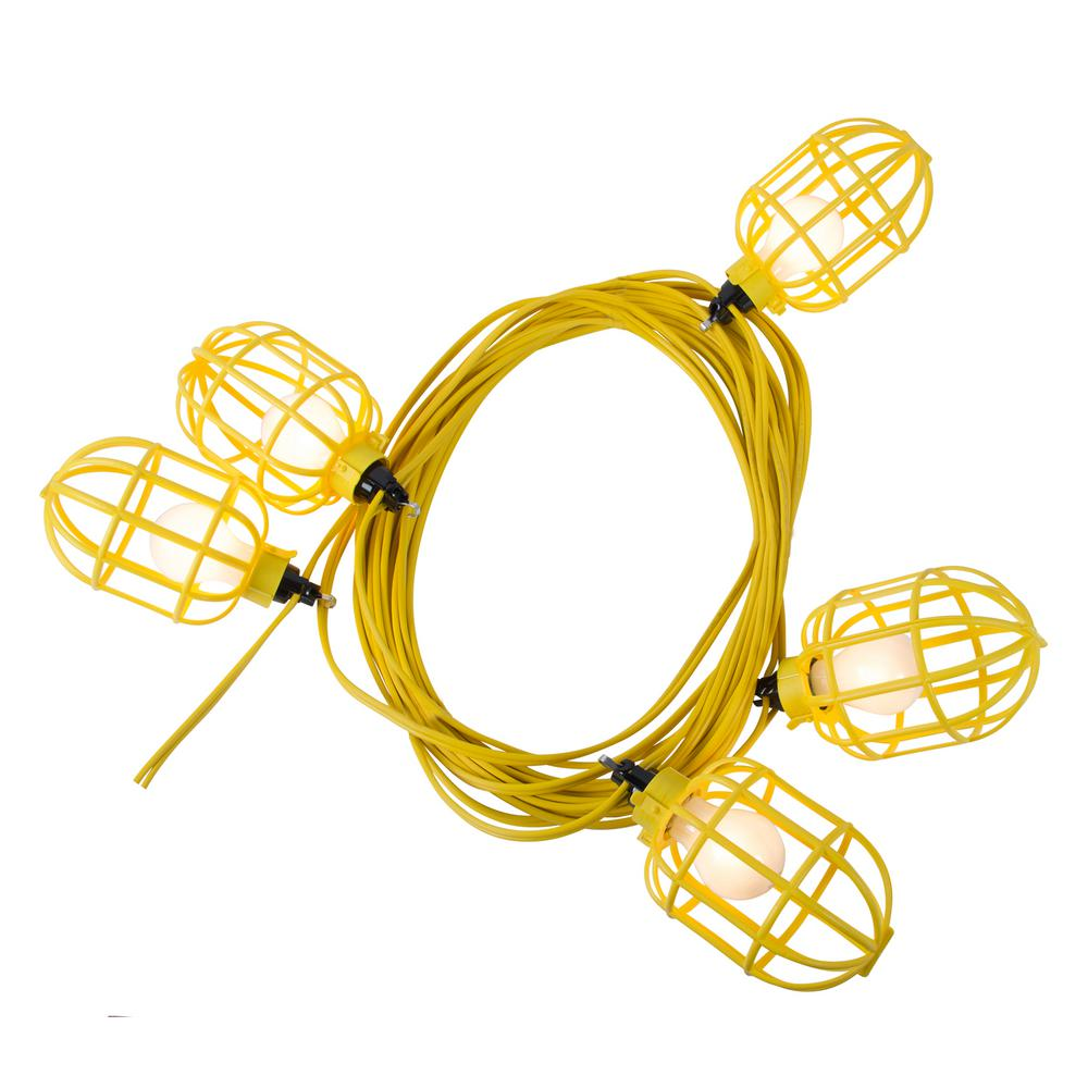 50 ft. 14/2 Flat Wire 5-Lamp Plastic Cage Temporary Light Stringer,