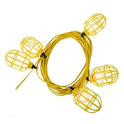 50 ft. 14/2 Flat Wire 5-Lamp Plastic Cage Temporary Light Stringer, Yellow