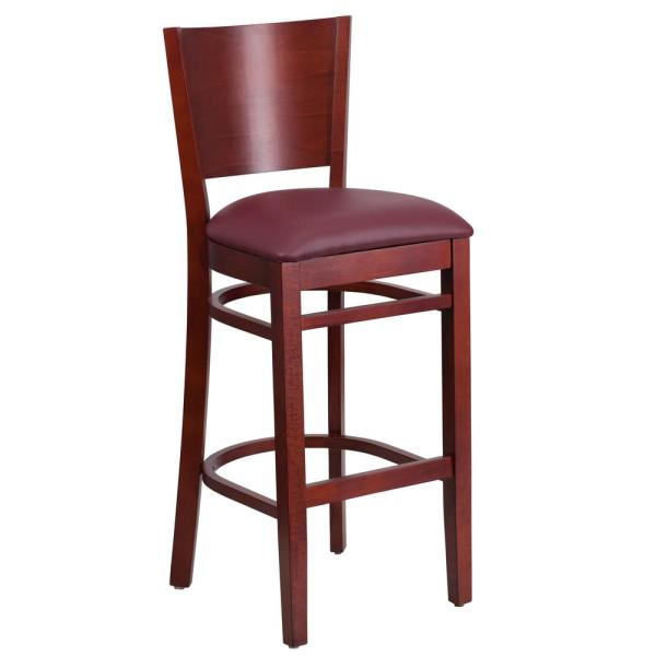 Flash Furniture Lacey 31.5 in. Burgundy and Mahogany Cushioned Bar Stool