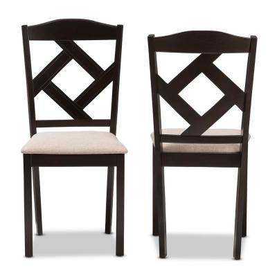 Ruth Beige and Dark Brown Fabric Dining Chair (Set of 2)
