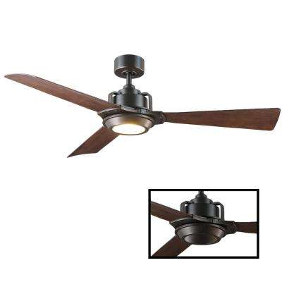 Osprey 56 in. LED Indoor/Outdoor Oil Rubbed Bronze 3-Blade Smart Ceiling Fan with 3000K Light Kit and Wall Control