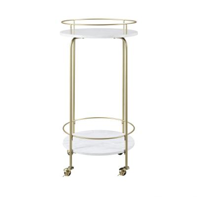2-Tiered Faux Marble and Metal Modern Bar and Serving Cart