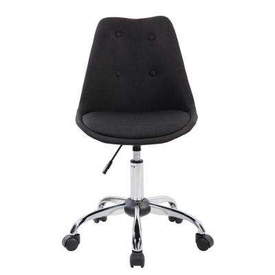 Black Armless Task Chair with Buttons