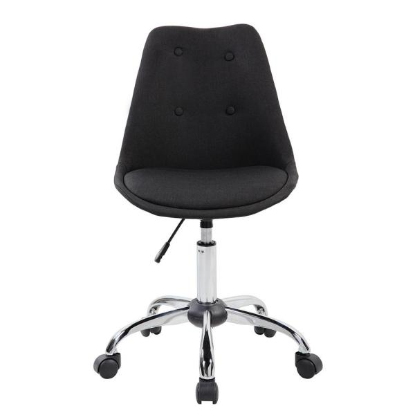 Techni Sport Black Armless Task Chair with Buttons