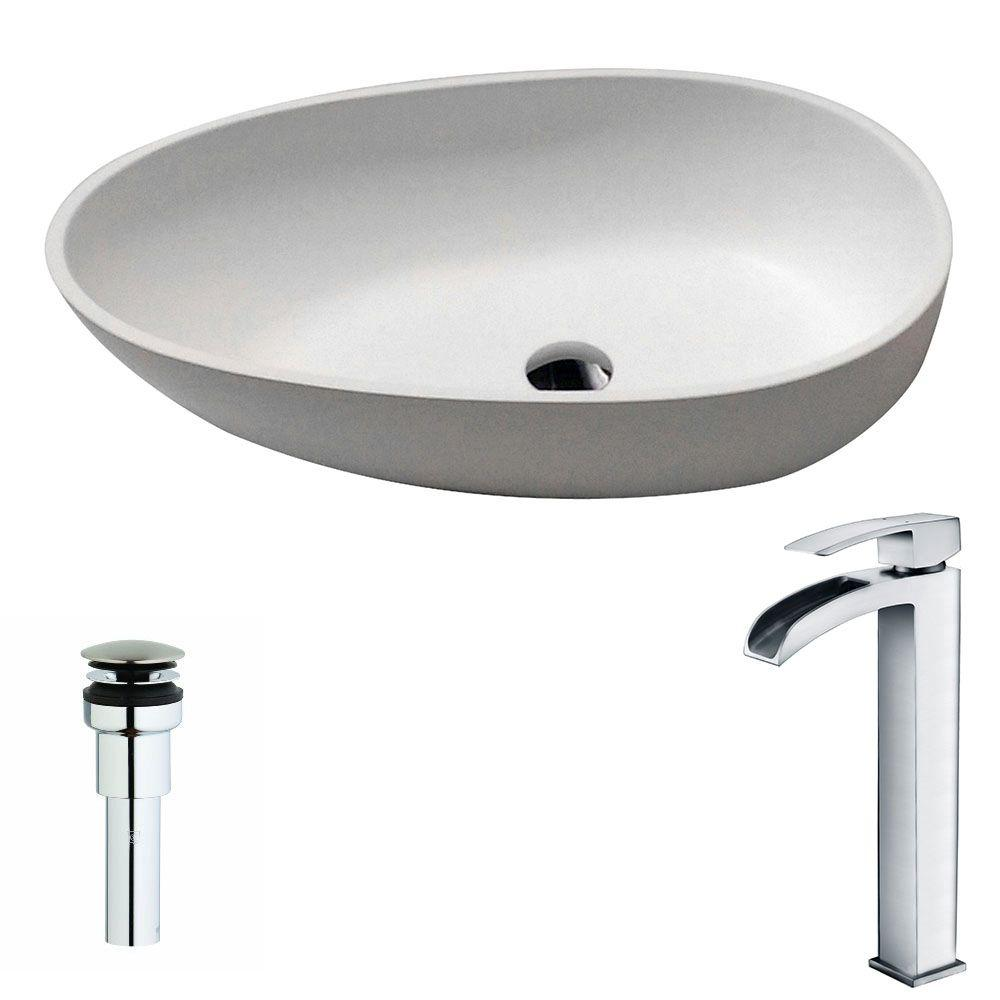 ANZZI Trident 1 Piece Man Made Stone Vessel Sink In Matte White With Key  Faucet