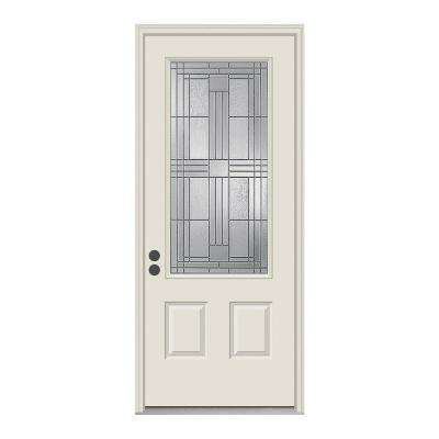 36 in. x 80 in. 3/4 Lite Cordova Primed Steel Prehung Right-Hand Inswing Front Door w/Brickmould