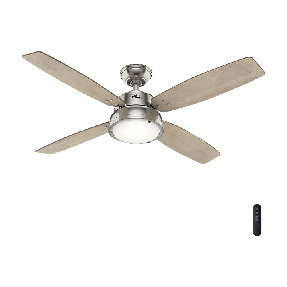 Hunter Wingate 52 in. LED Indoor Brushed Nickel Ceiling Fan with Light Kit and Handheld Remote Control