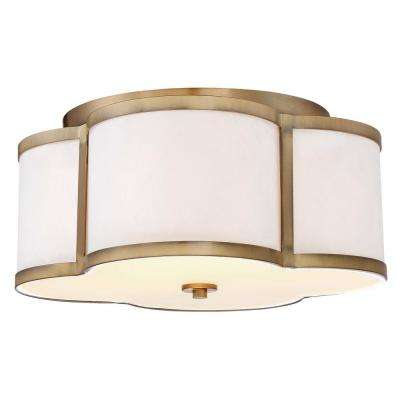 3-Light Natural Brass Semi-Flushmount