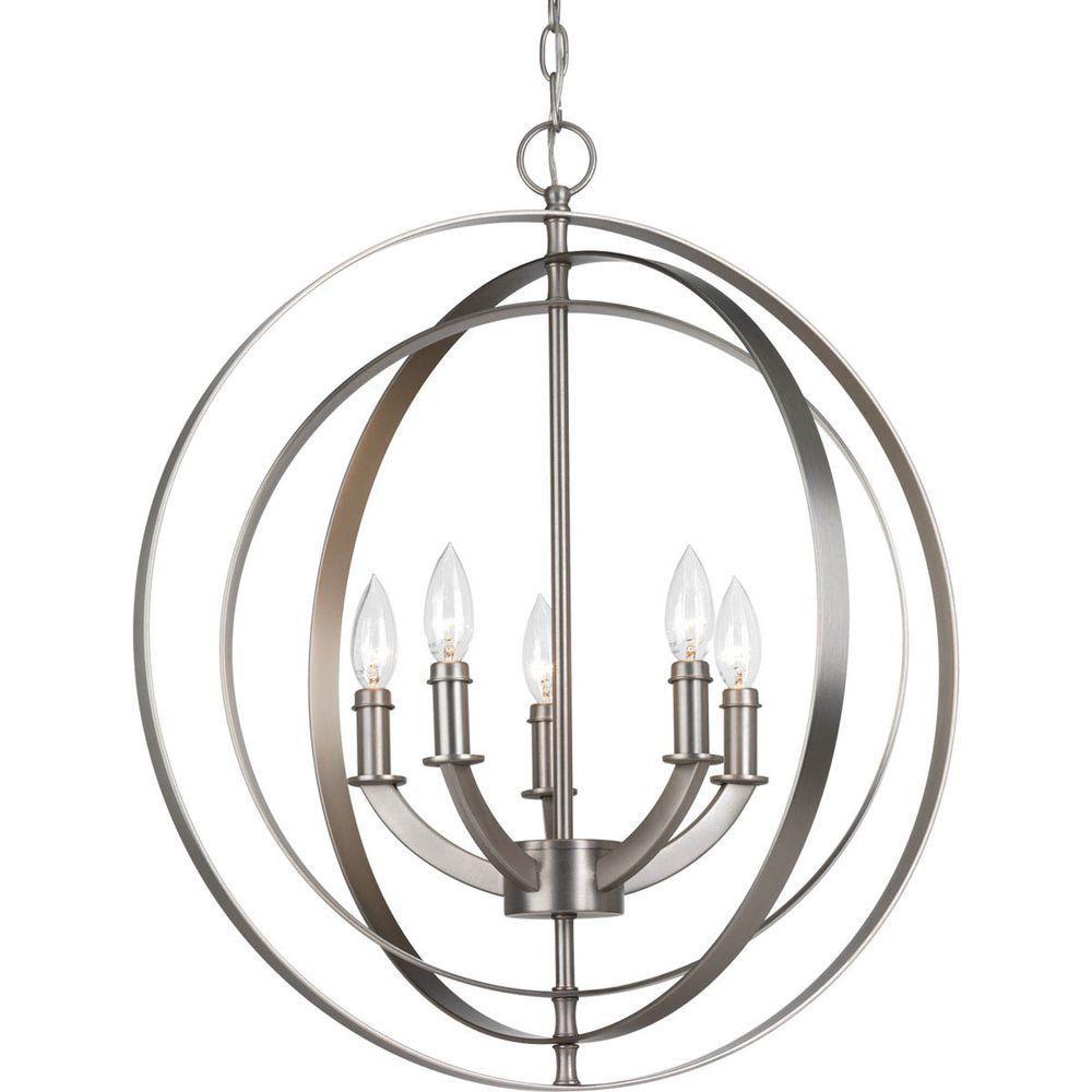 Progress Lighting Equinox Collection 5 Light Burnished Silver Orb Chandelier P3841 126 The