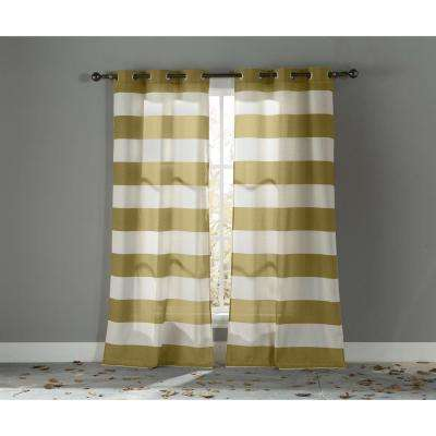 Semi-Opaque Kathi 96 in. L Cotton Grommet Panel in Gold (2-Pack)