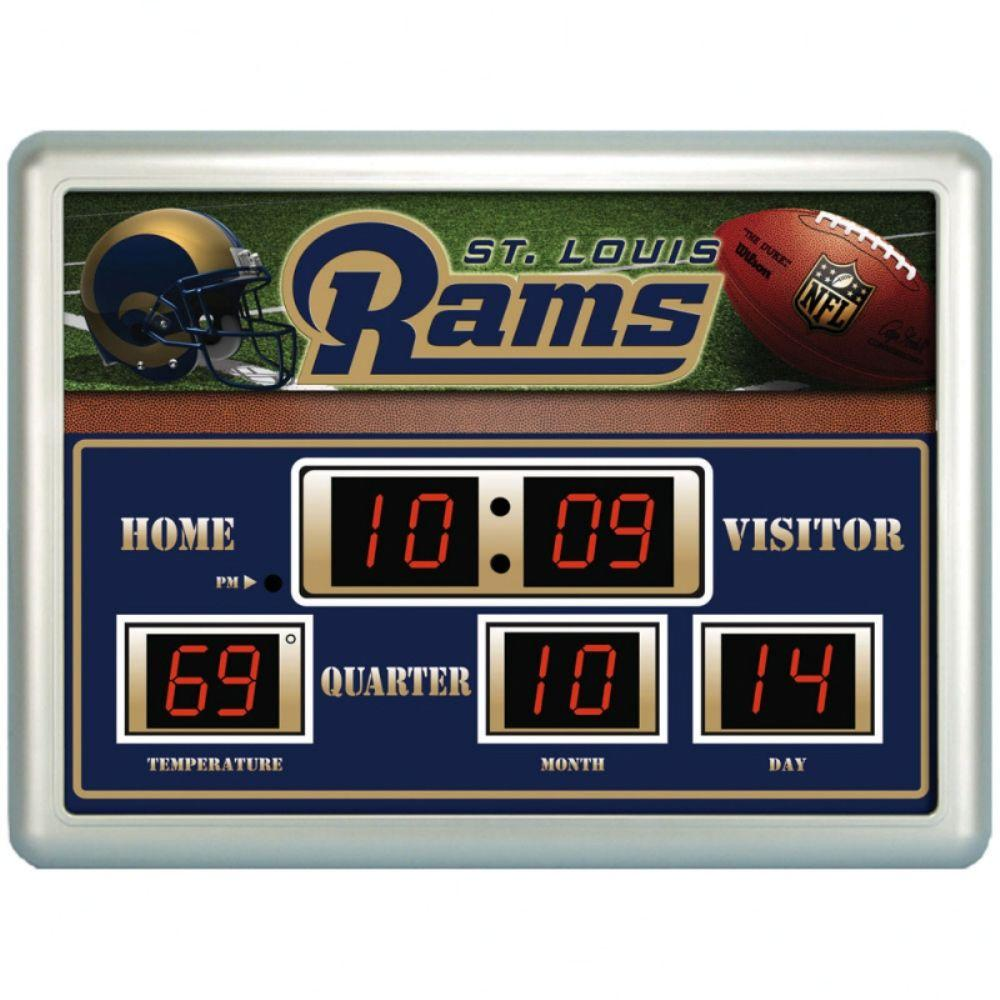 null St. Louis Rams 14 in. x 19 in. Scoreboard Clock with Temperature
