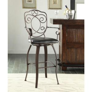 Crested Back 30 inch Brown Swivel Cushioned Bar Stool by