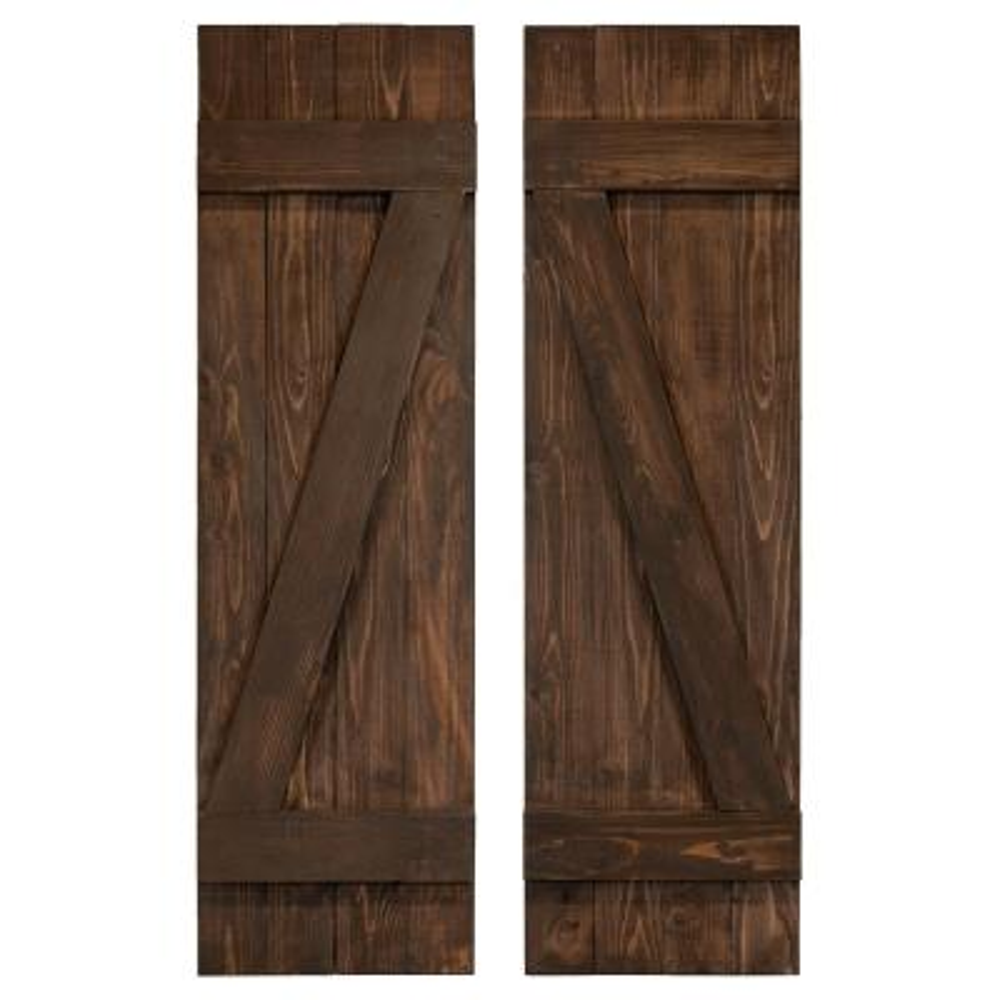 x 43in Homeside 4 Board and Batten Joined Shutter 1 Pair 14-1//2in 050 Black