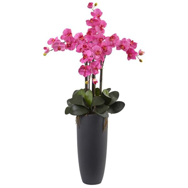 Nearly Natural Phalaenopsis Orchid Arrangement with Bullet Planter 1369-DP