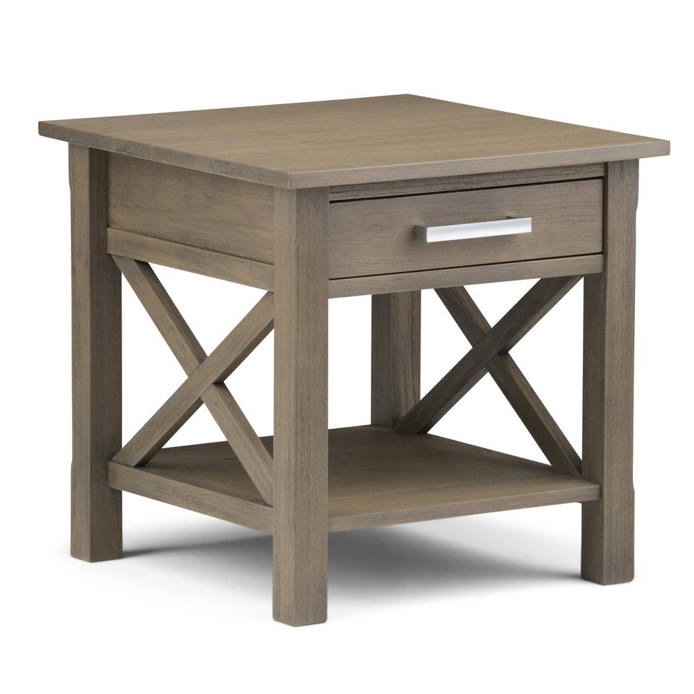 Outdoor Patio Furniture Kitchener: Simpli Home Kitchener Farmhouse Grey Storage End Table