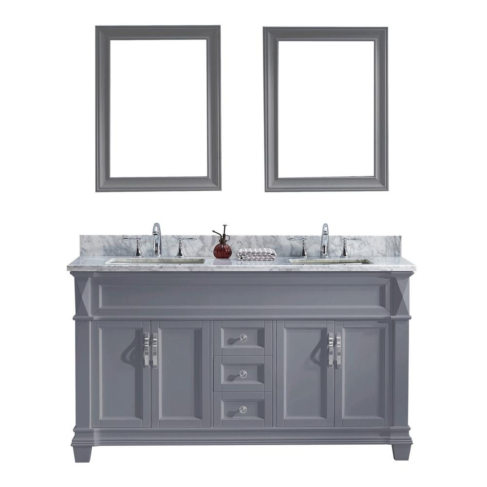 Virtu USA Victoria 60 In. W X 22 In. D Vanity In Grey With