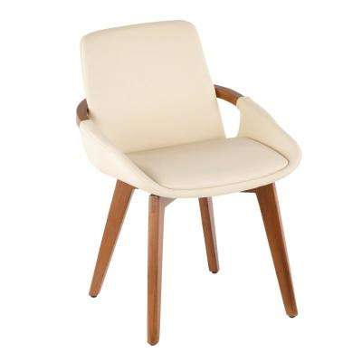 Cosmo Walnut Wood and Cream Faux Leather Chair