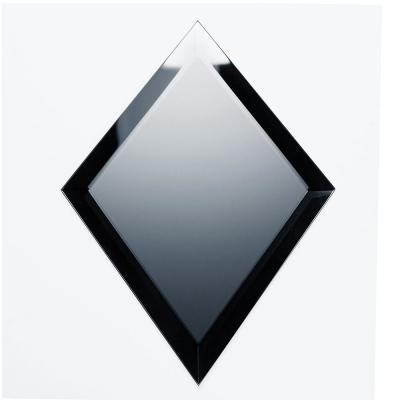 Reflections Graphite Blue Beveled Diamond 6 in. x 8 in. Frosted Matte Glass Mirror Peel & Stick Wall Tile (6 Pc/Pack)