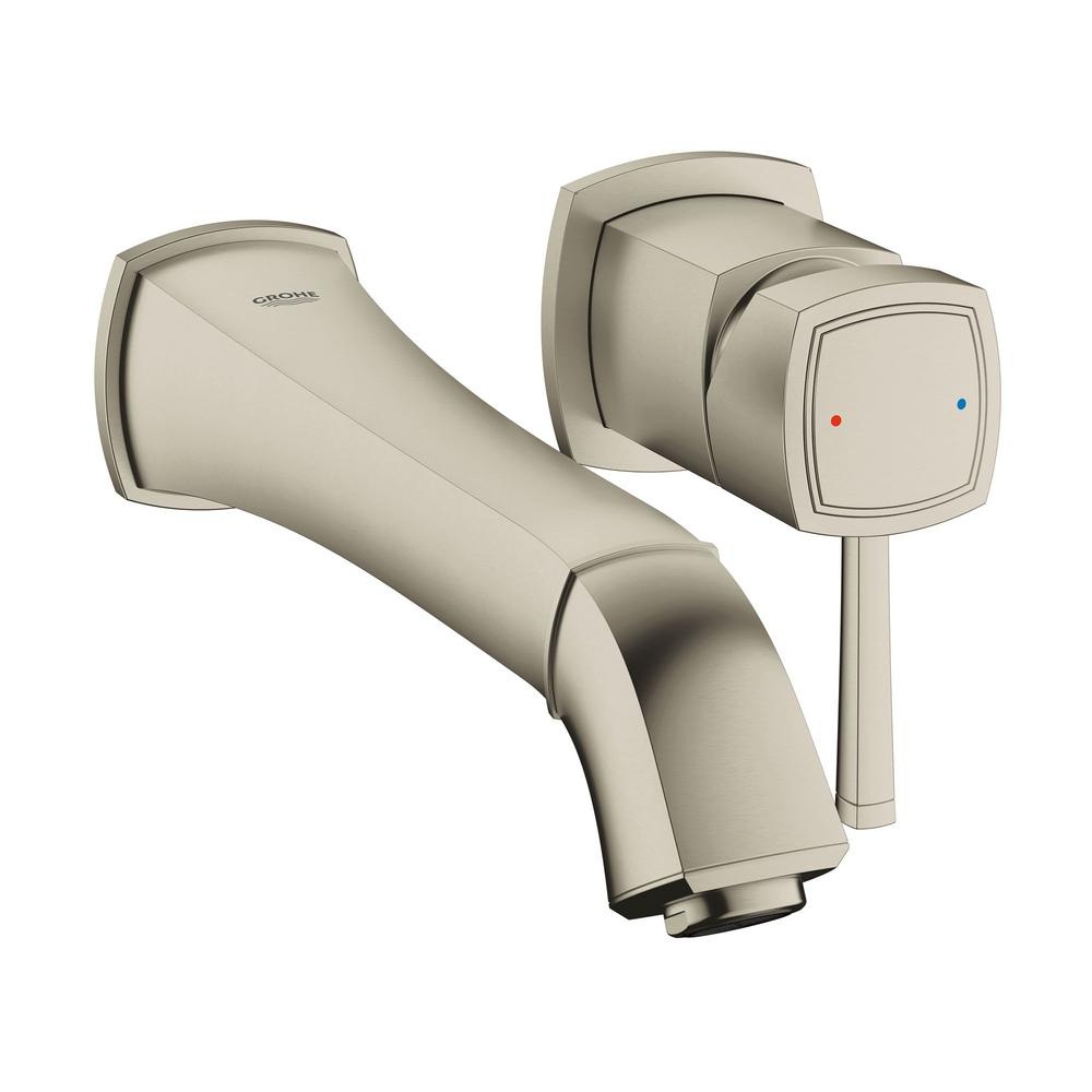 Grandera Single-Handle Wall-Mount Bathroom Faucet Vessel with 1.2 GPM in Brushed