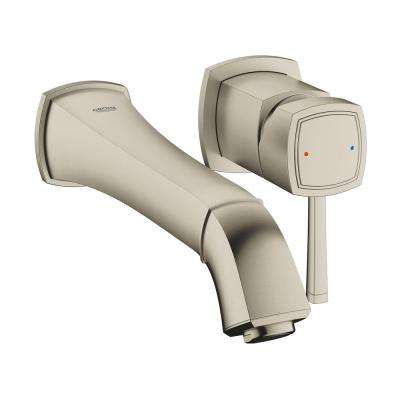 Grandera 1.2 GPM Double Hole Single-Handle Wall-Mount Vessel Bathroom Faucet in Brushed Nickel Infinity Finish