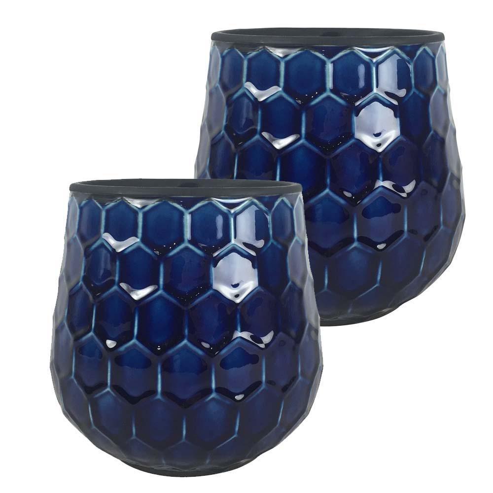 Honeycomb 8 in. Dia  Cobalt Blue Ceramic Planter (2-Pack)