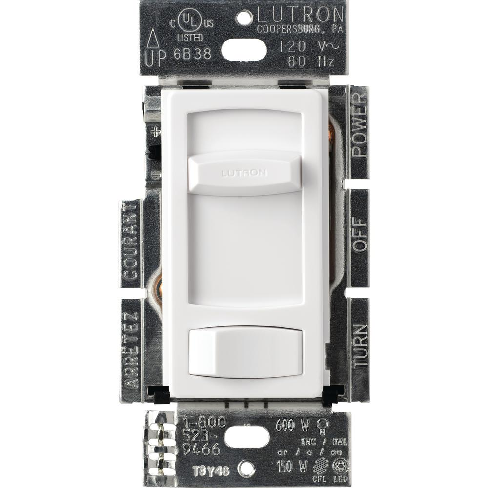 Lutron Single-Pole or 3-Way Skylark Contour C.L Dimmer Switch for Dimmable LED, Halogen and Incandescent Bulbs, White