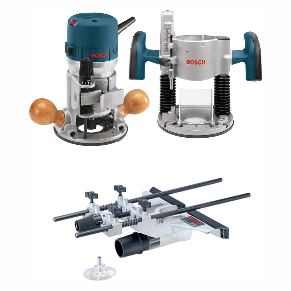 Bosch 12 Amp 2-1/4 HP Plunge and Fixed Base Corded Router Kit with Bonus Guide, Dust Extraction Hood and Adapter
