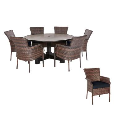 Grayson 7-Piece Brown Wicker Outdoor Patio Dining Set with CushionGuard Midnight Navy Blue Cushions