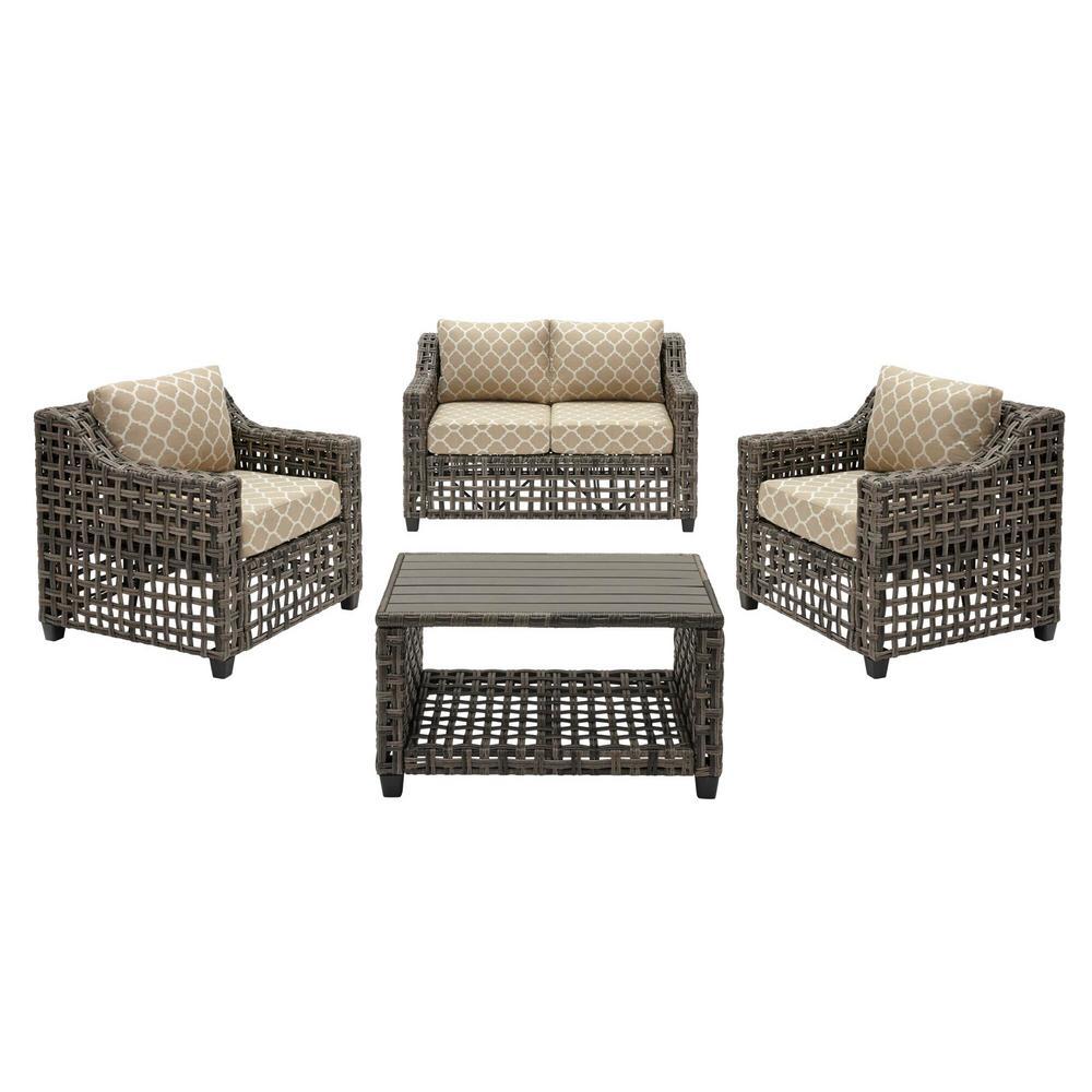 Briar Ridge 4-Piece Brown Wicker Outdoor Patio Conversation Deep Seating Set w/ CushionGuard Toffee Trellis Tan Cushions