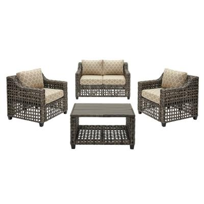 Briar Ridge 4-Piece Brown Wicker Outdoor Patio Conversation Deep Seating Set w/ CushionGuard Toffee Trellis Tan Cushions