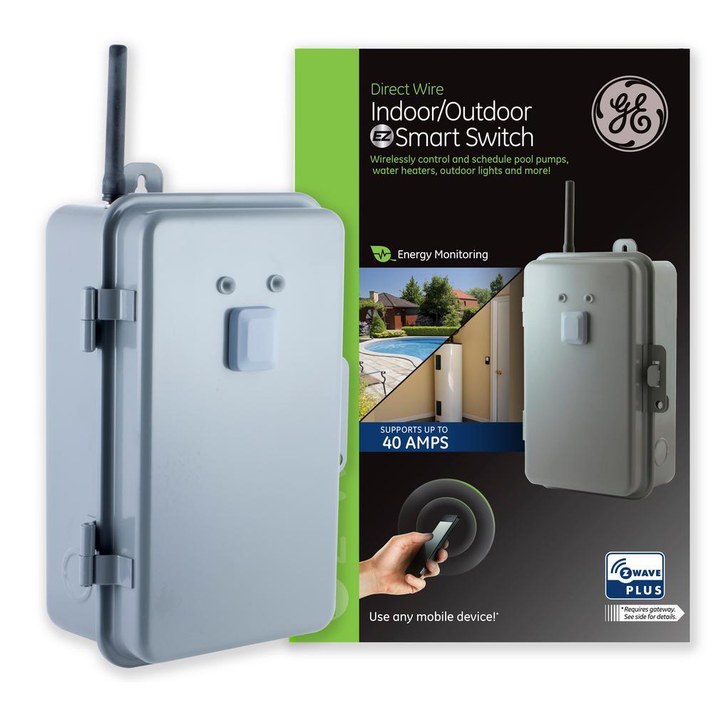 GE Z-Wave Plus Direct Wire Indoor/Outdoor 40 Amp Lighting Control Smart on