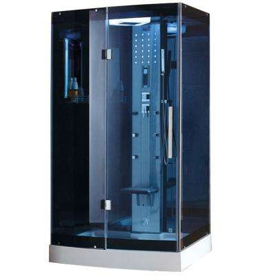WS-300A 48 in. x 36 in. x 85 in. Steam Shower Enclosure Kit in Blue Tempered Glass