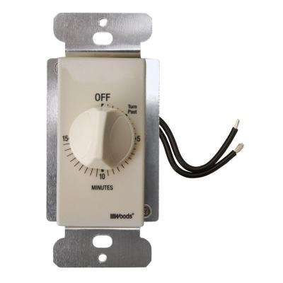 20-Amp 15-Minute In-Wall Spring Wound Countdown Timer Switch, Almond