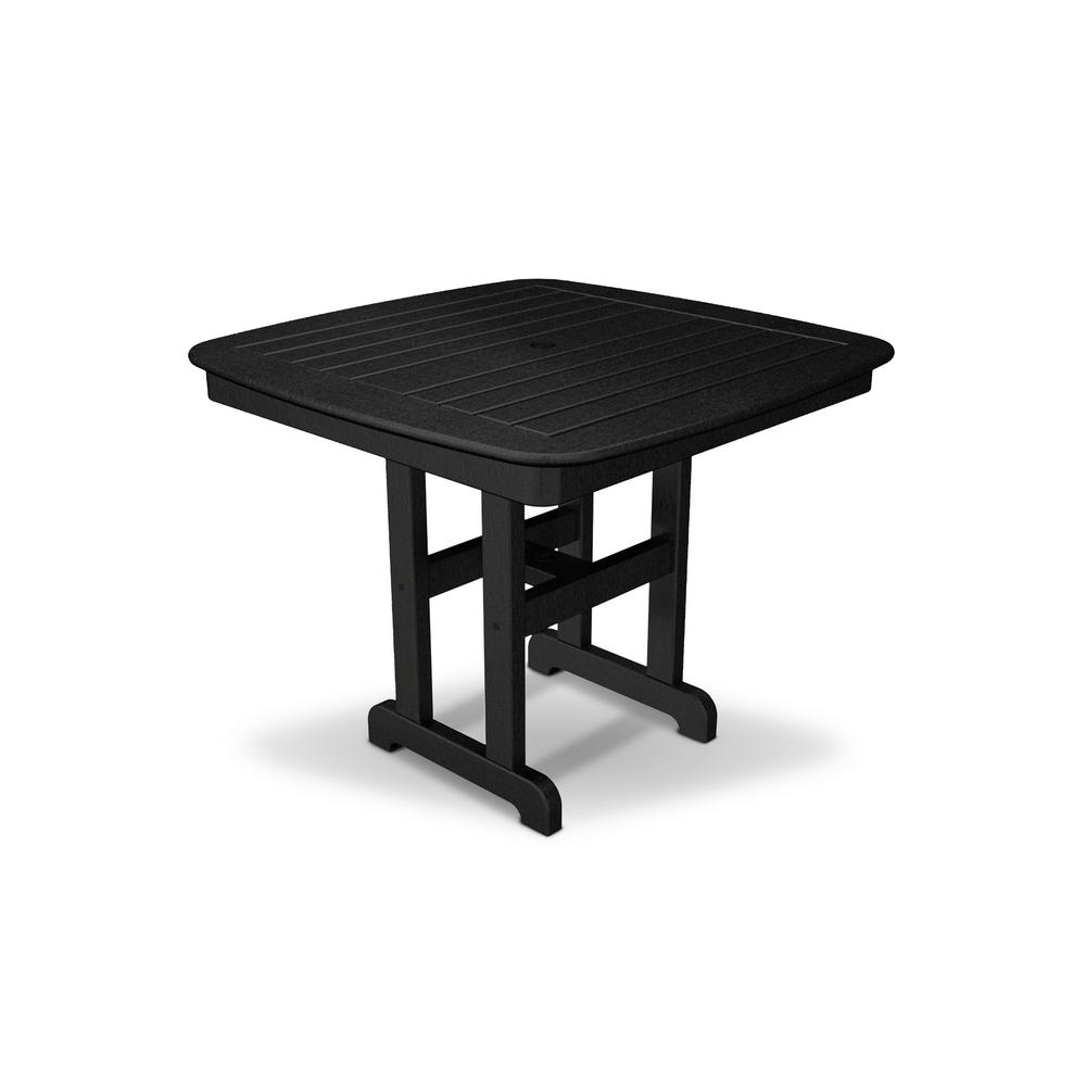 Yacht Club 37 in. Charcoal Black Patio Dining Table