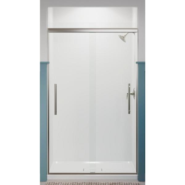 Pleat 47.625 in. x 79.0625 in. Frameless Sliding Shower Door in Anodized Brushed Nickel with Crystal Clear Glass