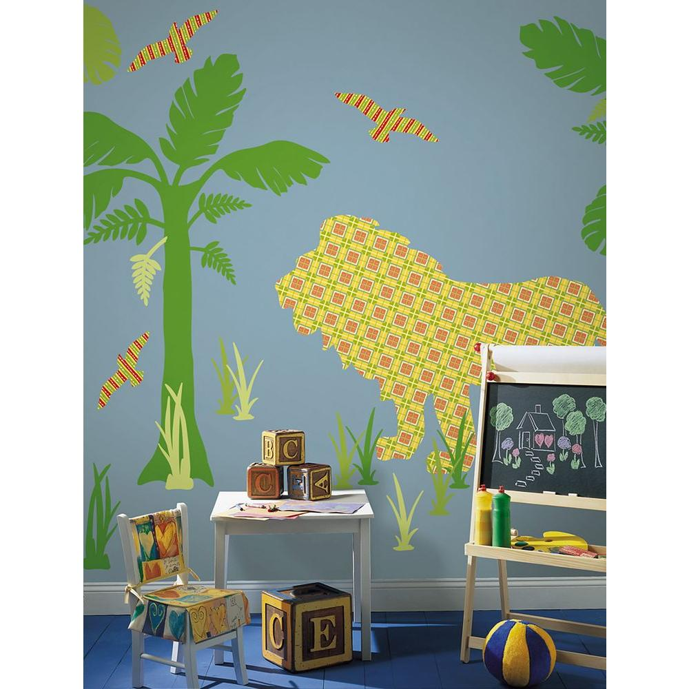 ZooWallogy 38 in. x 25 in. Ozzie the Lion Wall Decal