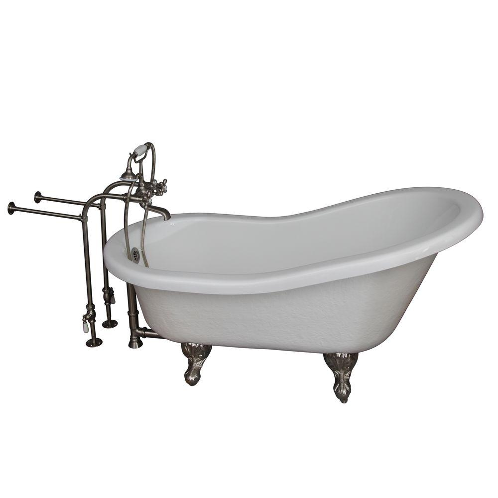 Barclay Products 5 ft. Acrylic Ball and Claw Feet Slipper Tub in White with Brushed Nickel Accessories