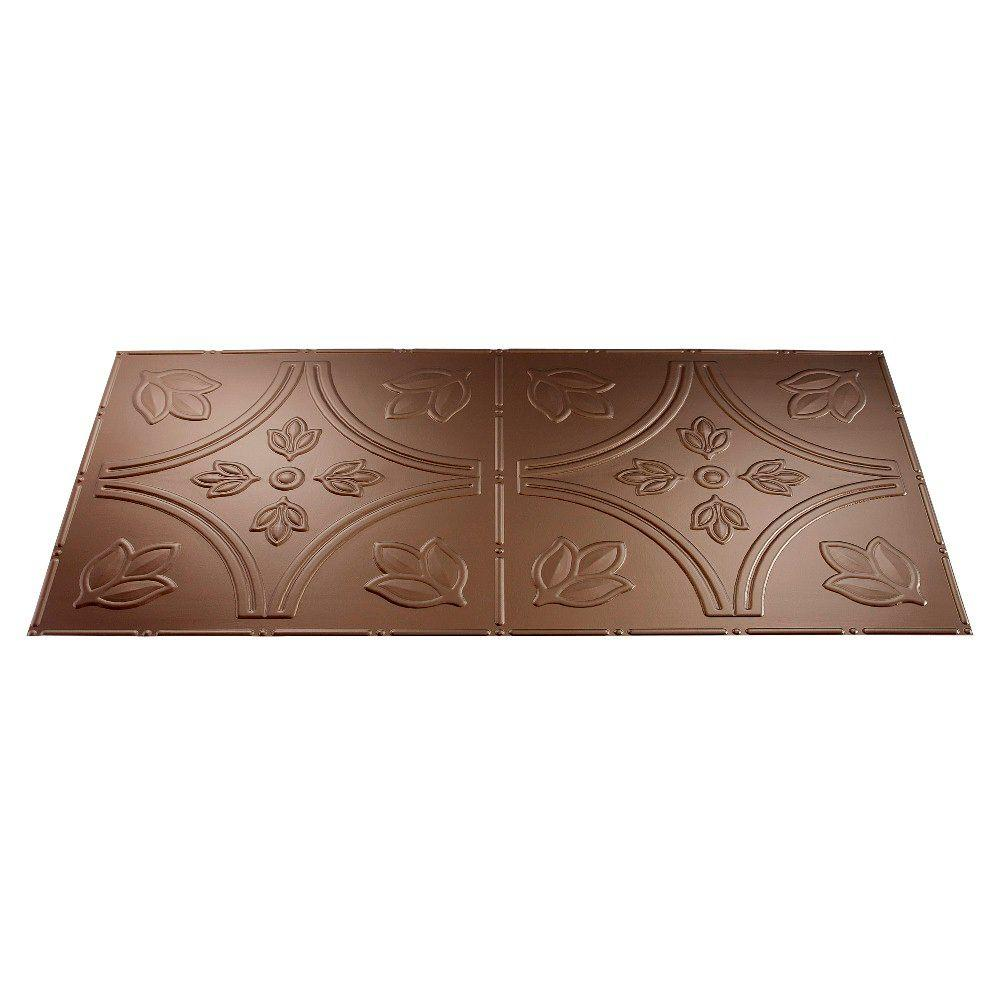 Fasade Traditional 5 2 ft. x 4 ft. Argent Bronze Lay-in Ceiling Tile