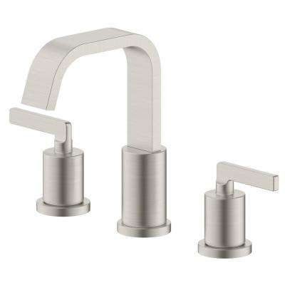 Saint-Lazare 2-Handle 8 in widespread Bathroom Faucet with Ribbon Spout in Brushed Nickel