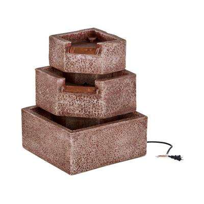 Cascadia Falls Electric Corner Fountain with LED's in Weathered Sienna Finish