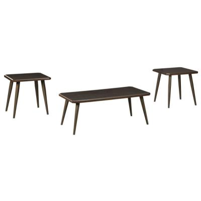 Dark Brown Wooden Table Set with Beveled Edges and Tapered Bottom (Set of 3)